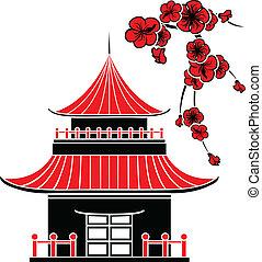 asian, dom, i, wiśniowe kwiaty