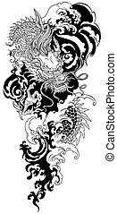 Asian dragon. Black and white tattoo