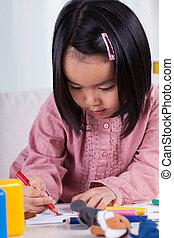 Asian drawing girl