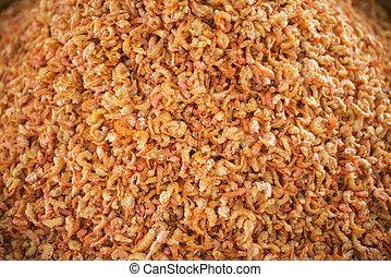 asian dried shrimp in kep market cambodia