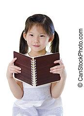 asian dziewczyna, czytanie