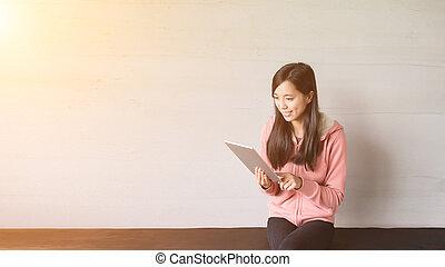 asian dziewczyna, korzystać, droga, w kraju
