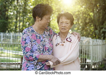 Asian elderly women friendship