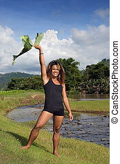 Asian emo dancer waving leaf - Asian tanned exotic long ...