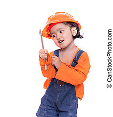 Asian Engineer baby girl and wrench in hand