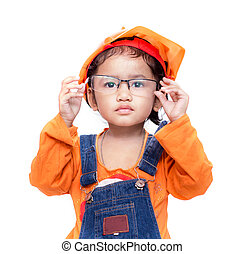 Asian Engineer baby girl take the glasses on white...