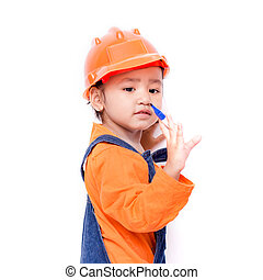 Asian Engineer baby girl with pen in hand