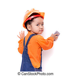 Asian Engineer baby with eraser brush in hand