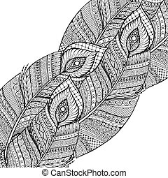 Asian ethnic floral retro doodle black and white background pattern in vector with feathers.