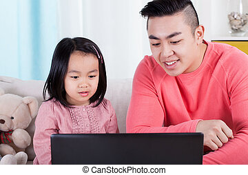 Asian family playing on computer