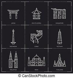 Asian famous landmarks.