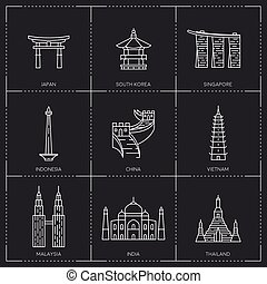 Asian famous landmarks. - The collection include Japan,...