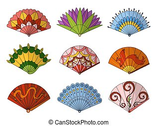 Asian fans. Colored hand traditional fan set isolated on white background, paper folding painting vector fans in web style. Decorative whiskey for man and woman
