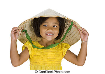 asian farmer girl with missing teeth - cute little asian...