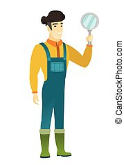 Asian farmer in coveralls holding a hand mirror. Full length of farmer looking at himself in a hand mirror. Farmer with hand mirror. Vector flat design illustration isolated on white background.