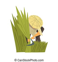 Asian Farmer in Straw Conical Hat Harvesting Rice, Peasants Character Working on Field Cartoon Style Vector Illustration