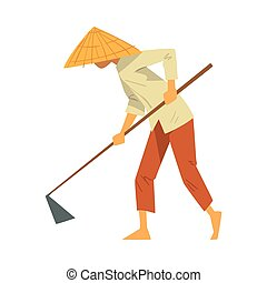 Asian Farmer in Straw Conical Hat Working with Hoe on Paddy Field Cartoon Style Vector Illustration on White Background