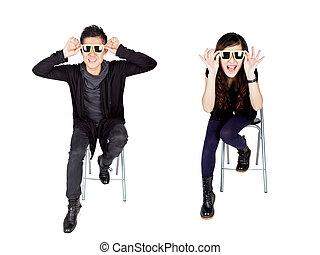 Asian fashion couple with sunglasses