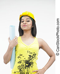female construction worker with a h