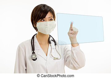 Asian female doctor pressing virtual button