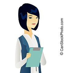 Asian female office worker holding a clipboard.