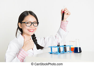 Asian female scientist in lab