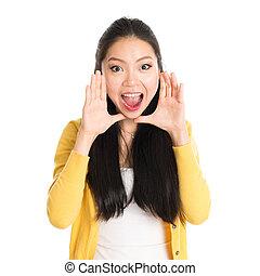 Asian female shouting