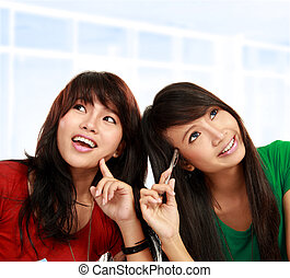 asian female thinking