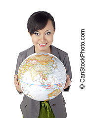 asian female with globe