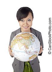 asian female with globe