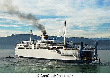 Asian ferry at dawn