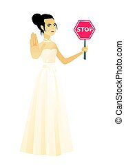 Asian fiancee holding stop road sign.