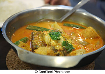 Asian fish curry - Traditional asian spicy fish curry in...
