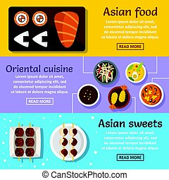 Asian food banner horizontal set, flat style