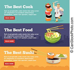 Asian food banners with sushi. Vector flat illustration