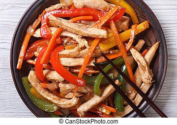 chicken with vegetables close-up on a plate. top view