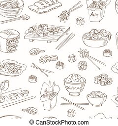 Asian Food. Decorative chinese food icons seamless pattern.