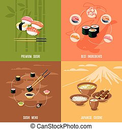 Asian Food Design Concept - Asian food design concept with...