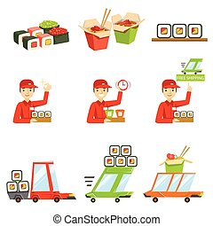 Asian Food Fast Delivery Service Process Info Illustration