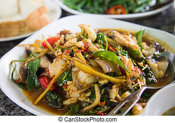 asian food - Fried seafood spicy. Delicious food of Asian.