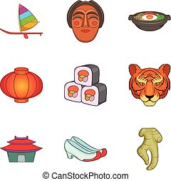 Asian food icons set, cartoon style