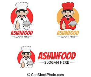Illustration vector design of asian chef logo for asian food.