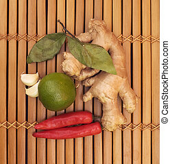 asian food ingredients - ginger, chilli, lime, garlic