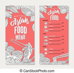 Asian Food Restaurant Menu Sketch Template