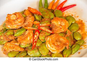 Asian food Sato Spicy fried shrimp - Sato Spicy fried shrimp