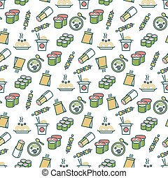 Asian food seamless pattern - chinese fast food pattern