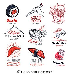 Asian Food Sketch Badges Set