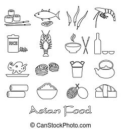asian food theme set of simple outline icons eps10