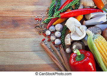 asian food vegetable spice herb on wood table use for asian food style and healthy food theme