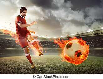 Asian football player kick fire ball
